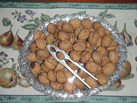 Walnuts on plate
